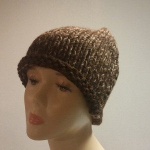 ONLY ONE Brown and Tan Knit Beanie
