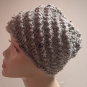 ONLY ONE Winter Knit Beanie in Gray with Black flecks