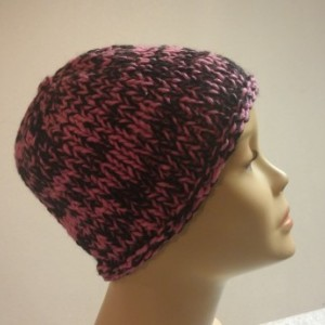ONLY ONE Knit Black and Pink Beanie