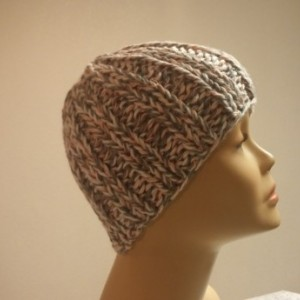 ONLY ONE White Gray and Pink Knit Beanie