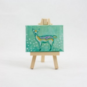 Fawn Mini Painting, Deer Totem, Spirit Animal, Woodland Creature, Original Illustration Painting  - Cute Mini Painting by Kimberly Kling