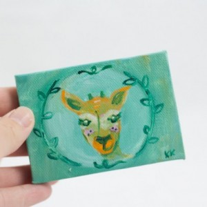 Deer Mini Painting, Fawn Totem, Spirit Guide, Woodland Deer, Original Small Painting  - Children's Artwork by Kimberly Kling