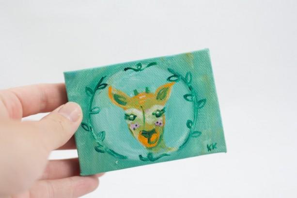 Deer Mini Painting, Fawn Totem, Spirit Guide, Woodland Deer, Original Small  Painting