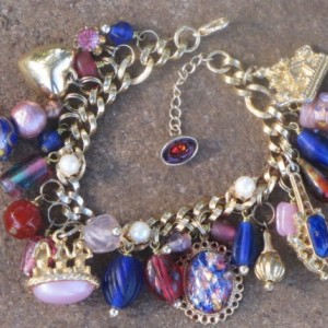 Three Wise Monkeys Charm Bracelet with Pink and Blue Palette--OOAK Artisan Assembled Eco-Friendly Upcycled