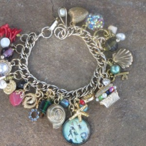 Mermaid Charm Bracelet--OOAK Artisan Assembled Eco-Friendly Upcycled