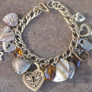 Heart Charm Bracelet Artisan Made Eco-Friendly Upcycled