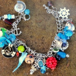 Pirate Theme Charm Bracelet--OOAK Artisan Eco-Friendly