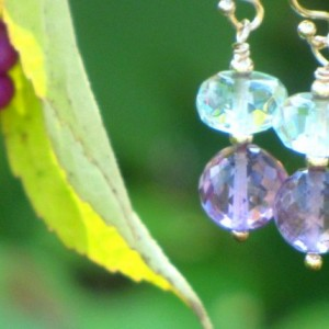 Microfaceted Amethyst and Aqua Quartz French Wire Earrings