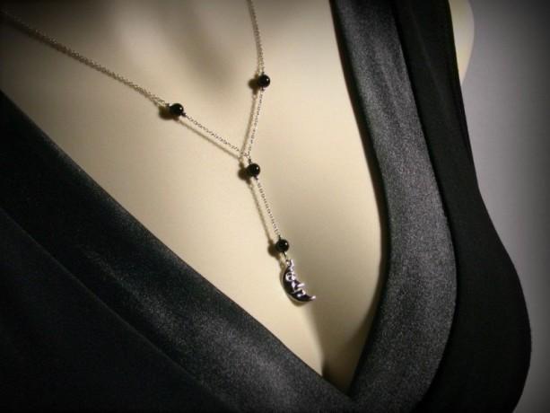 Y Necklace, Moon Necklace, Lariat Necklace, Black Onyx Necklace, Sterling Silver Moon Necklace, Crescent Moon, Y, Moon Pendant, Black Onyx