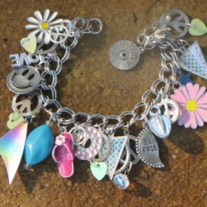 Peace Love Charm Bracelet OOAK Artisan Eco-Friendly Upcycled