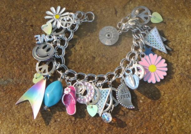 Peace Love Charm Bracelet OOAK Artisan Eco-Friendly Upcycled