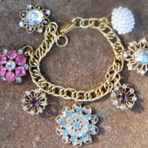 Vintage Flower Charm Bracelet--OOAK Artisan Assemblage Eco-Friendly Upcycled