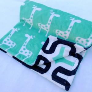 Giraffe Baby Blanket - Geometric Blanket - Baby Blanket - Minky Baby Blanket