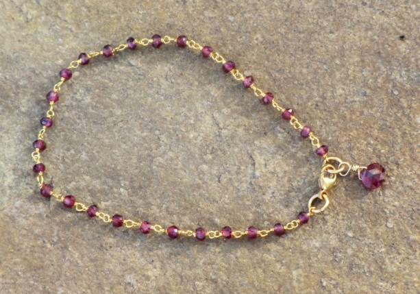 Rhodolite Garnet Gemstone Rosary Style Chain Bracelet