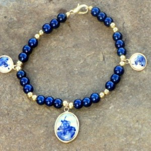 Delft Charm Bracelet with Blue Glass Beads