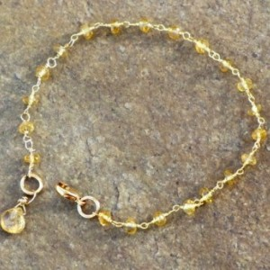 Citrine Gemstone Rosary Style Chain Bracelet