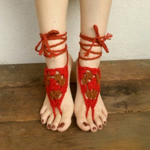 Crocheted Barefoot Sandals - Yoga Shoes - Handmade Sandals - Crocheted Shoes - Yoga Sandals - Hippie Sandals - Barnyard