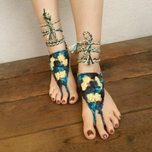 Crocheted Barefoot Sandals - Yoga Shoes - Handmade Sandals - Yoga Sandals - Hippie Sandals - Yoga Wear - Forest Friends