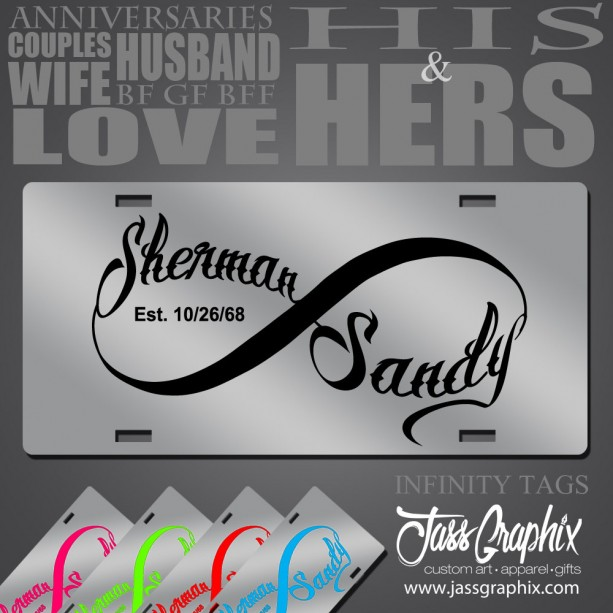 Personalized Front License Plates >> Personalized Infinity Symbol License Plates For Couples Annivers