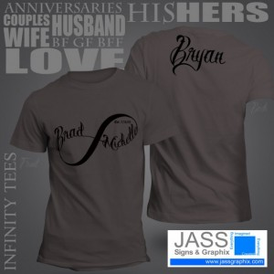 Infinity Shirts for couples. Great Valentines gift! Perfect tee shirt  for couples, his and hers, weddings gifts or anniversaries present.