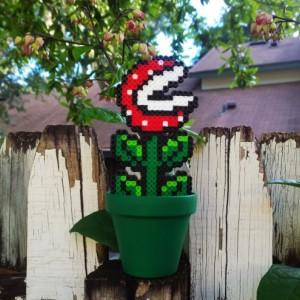 Super Mario Bros. - Piranha Plant - Perler Bead Piranha planter
