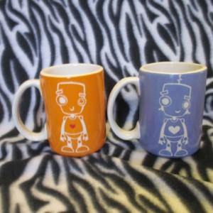 12 ounce tattoo coffee cup Orange or Purple Robot ceramic pottery OHIO USA