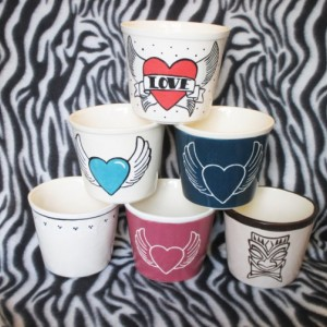 Tattoo Inspired Flower Pot Winged Heart Tiki OHIO USA Handmade Ceramic Pottery