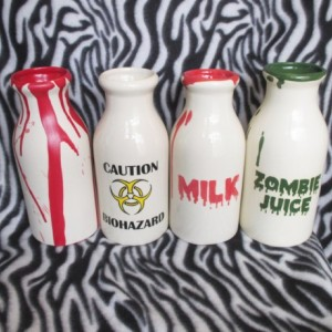 Large Milk Bottle Bloody Milk Skull Biohazard Zombie Juice OHIO USA Handmade Ceramic Pottery Tattoo