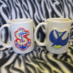 12 ounce tattoo coffee cup Blue Sparrow Swallow Nautical Anchors ceramic pottery OHIO USA