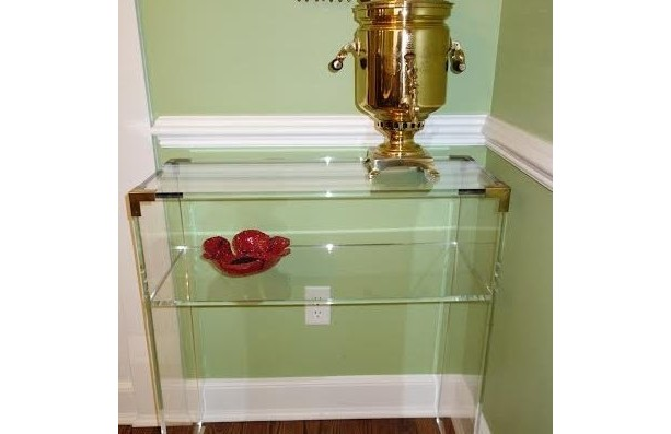 Brass Acented Acrylic/Lucite Console Table (Acrylic Furniture)