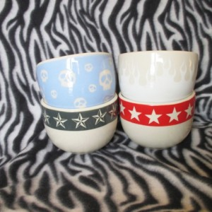 Blue Skulls White Flames Cereal Soup Ice Cream Bowl Red Grey Nautical Stars Ceramic Pottery OHIO USA