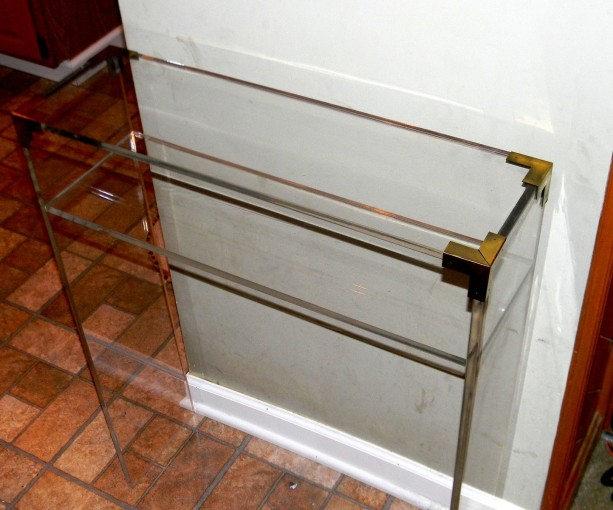 Brass acented acrylic lucite console table acrylic for Small acrylic console table