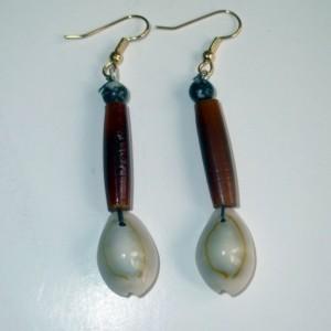 Amber Buffalo Horn/Cowrie Shell Dangle Earrings with Dendric Jasper
