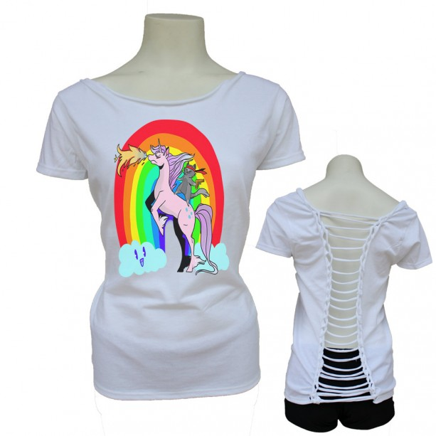 Women's Teen Funny Rainbow Cat Riding Unicorn Gun Ladder Woven Back S M L XL