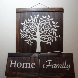 Rustic family tree wall art set