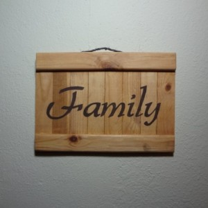 Rustic 'Family' wooden wall art