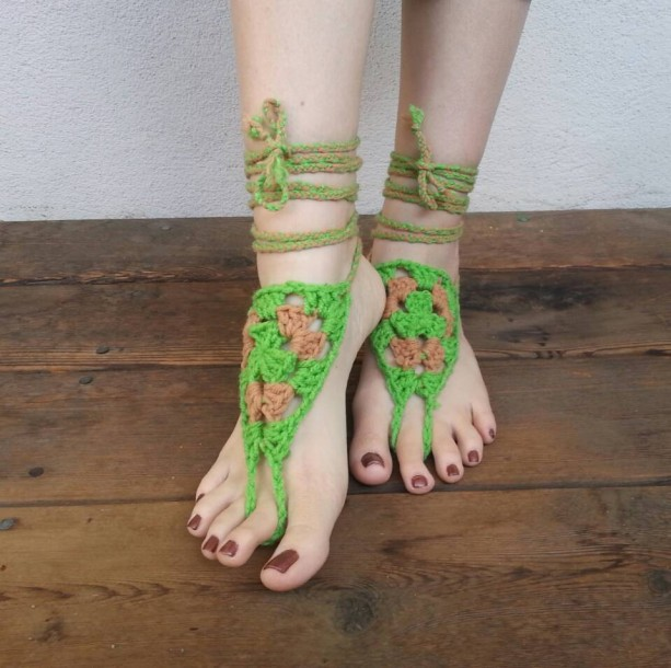 Crocheted Barefoot Sandals - Soleless Shoes - Handmade Sandals - Yoga Sandals - Yoga Jewelry - Yoga Wear - Hippie Sandals - Turtle, Turtle