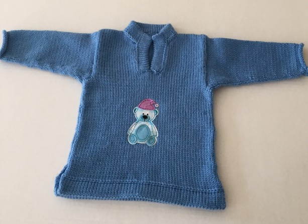 Blue  knit baby pullover with teddy bear motif