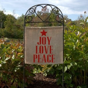 Burlap Christmas Lawn Sign Joy Love Peace Garden Flag