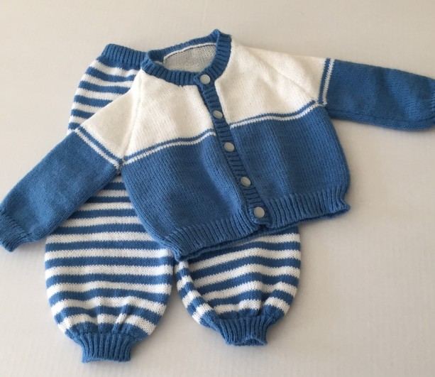 Blue and white baby cardigan and matching pants set