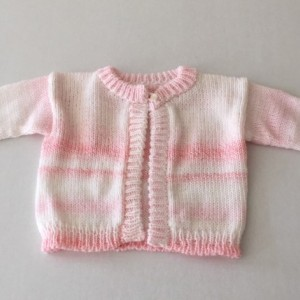 Pink and white  custom knit baby cardigan