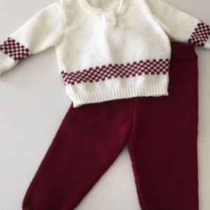 Red and white baby sweater and matching pants set