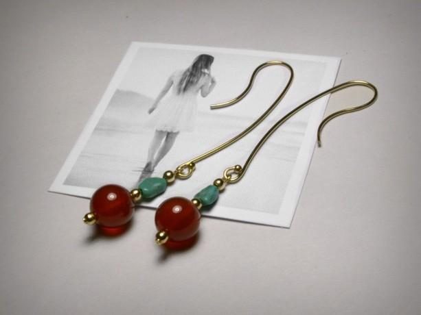 Carnelian Earrings, Turquoise Earrings, Boho Earrings, Long Dangle Earrings, Long Earring, Genuine Carnelian, 14K Gold Filled,  Turquoise