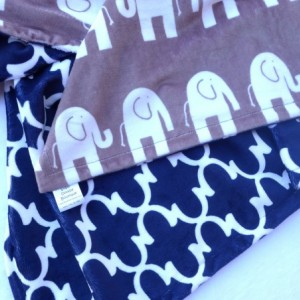 Elephant Baby Blanket - Gray and Navy Blue Minky Baby Blanket - Geometric Baby Blanket for Your Little Sugar Doodle - READY TO SHIP