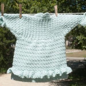 Little Girl's Aqua Hand Crocheted Prairie Flower Coat/Sweater - 9 -18 month - Original Design with Handmade Buttons