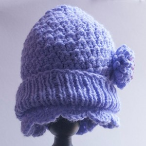 Little Girl's Iris Hand Crocheted Cloche Style Hat with Flower - 12mo - 2T- Original Design
