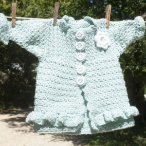 Little Girl's Aqua Hand Crocheted Prairie Flower Coat/Sweater - 9 -18 month - Original Design with Handmade Buttons