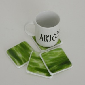 Green White Fused Glass Coasters Home Decor Housewares Table Holiday Christmas