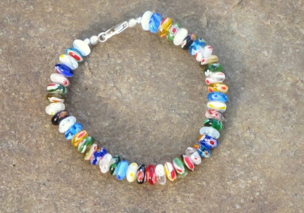 Multi-colored Glass Rondelle and Sterling Silver Bracelet