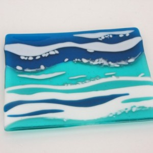 Ocean Waves Serving Dish Plate Platter Dish Table Art Artglass D-0094
